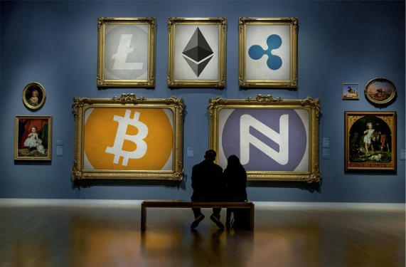 people looking at cryptocurrency portrait