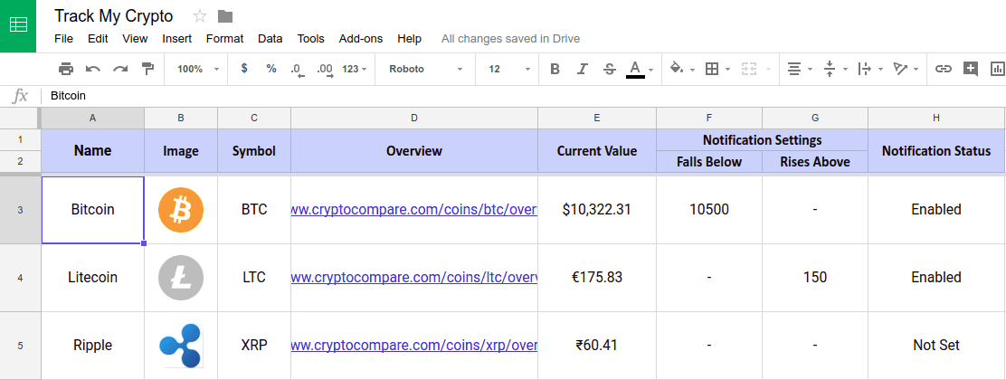 track my crypto cryptocurrency tracker spreadsheet