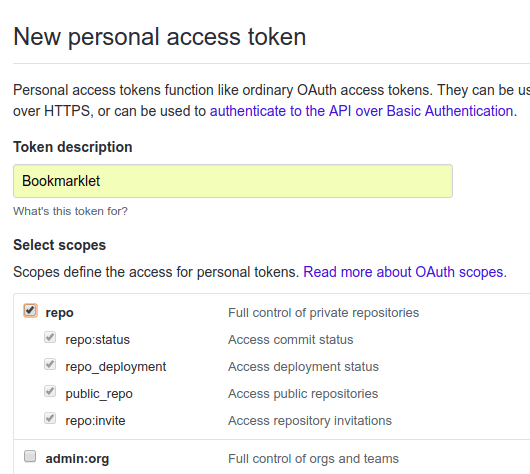 github add new personal token page