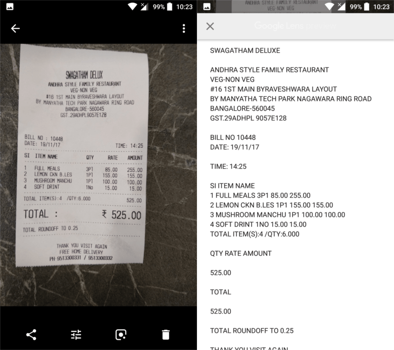 photo of a hotel bill opened in google photos