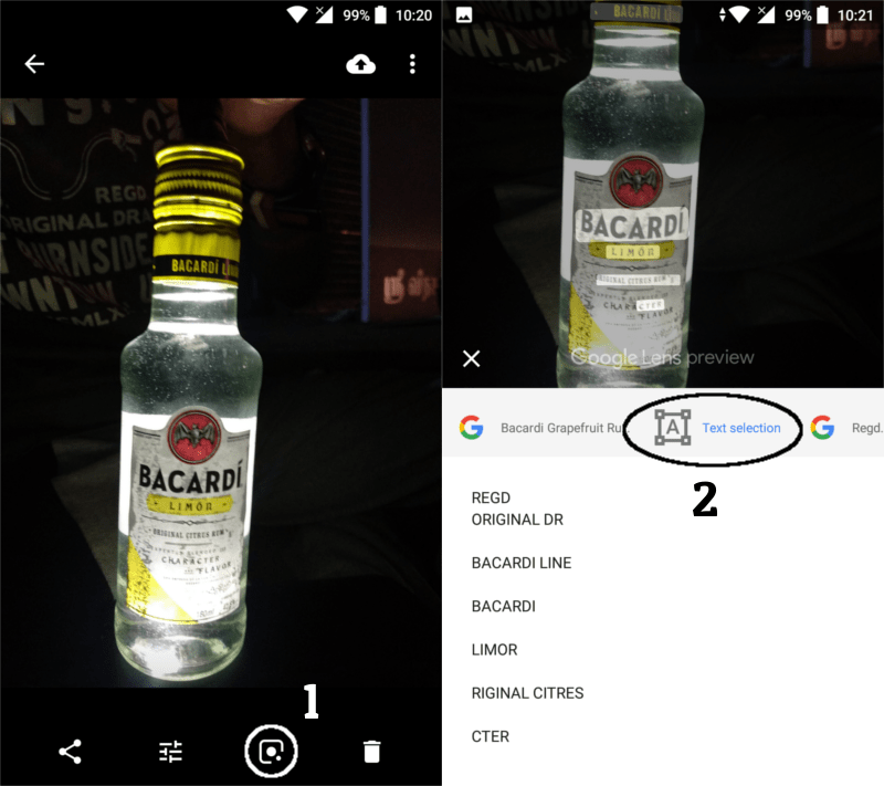 image of a bacardi wine bottle opened in google photos