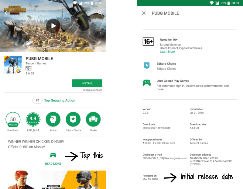 pubg android game first release date