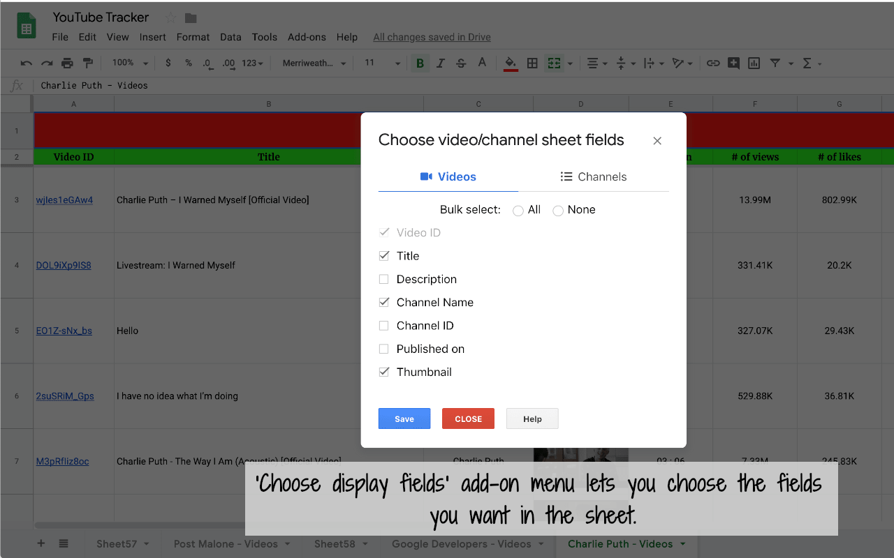 yt tracker choose display fields add-on dialog