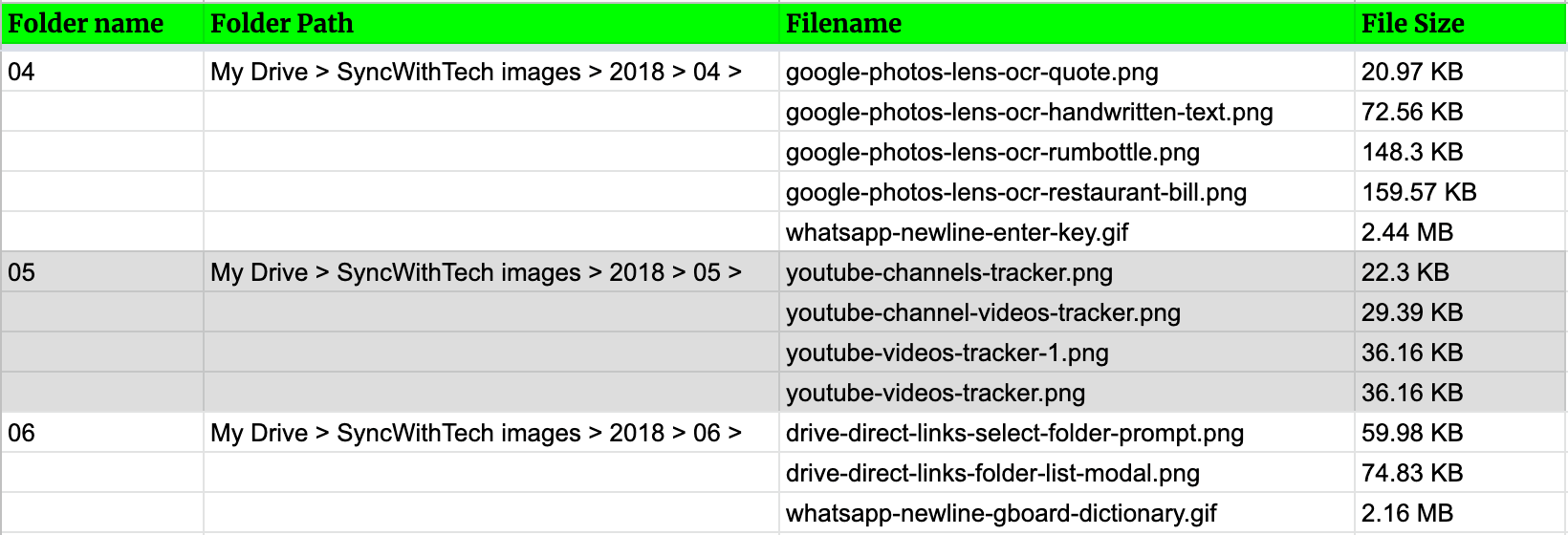 sorting google drive files by size