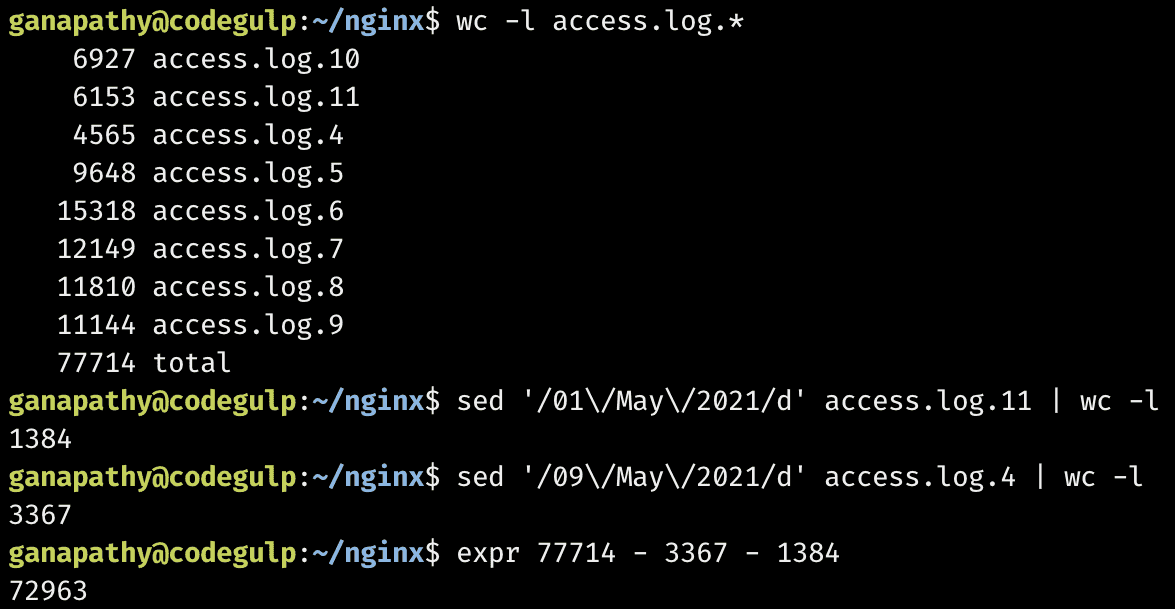 request count from nginx access log