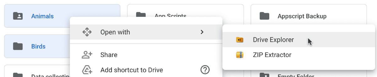 opening google drive folders with drive explorer